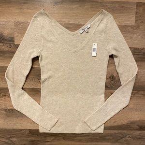 Madewell Tan Ribbed Long Sleeve Shirt
